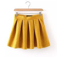 Summer Women's Fashion Zippers Lace Embroidery Pleated Skirt [4920638852]