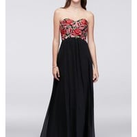 Embroidered Empire-Waist Chiffon Dress - Davids Bridal