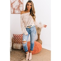 Love Without Limits Off The Shoulder Sweater (Blush/Multi)