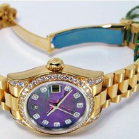 Rolex Lady President Gold Black Mother of Pearl Diamond Lugs 179158 -WATCH CHEST
