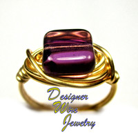 DWJ0277 Stunning Czech Glass Tanzanite Gold Wire Wrapped Ring All Sizes