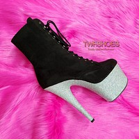 """Adore 1020FSMG  7"""" High Heel Ankle Boots - Black / Silver"""