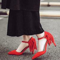 2016 new fashion elegant red tassel shoes for summer graduation ball party formal  = 4777204228