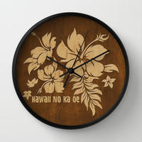Hibiscus Pareau Hawaiian Floral Aloha Shirt Print Wall Clock by Drive Industries