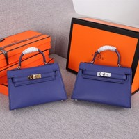 hcxx hcxx 1274 Hermes mini kelly second generation Simple Fashion Handbag blue