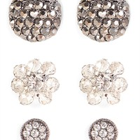 Set of 3 Stud Earrings with Stones and Flower