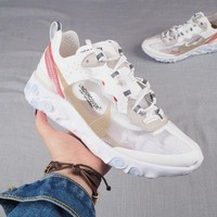 HCXX N328 Nike Epic React Flyknit Transparent Lightweight Cushion Running Shoes White