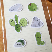 Nature Sticker Set - 6 Cactus and Rock cute stickers