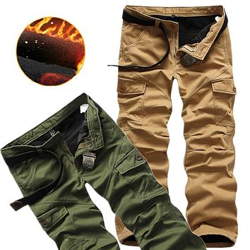 Winter Double Layer Men's Classic Cargo Pants Warm Thick Baggy Pants Cotton Trousers Men Male Military Camouflage Tactical Plus