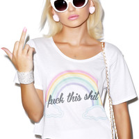 Local Heroes Fuck This Shit Cropped Tee White