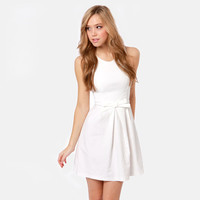 Ivory Sleeveless Pleated Mini Dress with Waist Bow