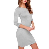 Simple Slim O-Neck Elegant Sexy Dress