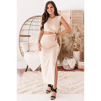 Sassy Sophistication Shoulder Padded Cut-Out Maxi Dress (Nude)