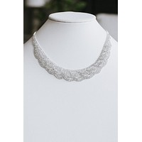 Almond Scallop Pave Scoop Necklace