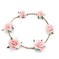Elora Floral Head Crown - Soft Pink