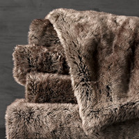 Oversized Luxe Faux Fur Bed Throw - Mink