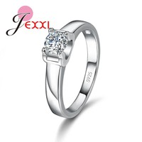 Fashion Women Simple Smooth AAA Cubic Zirconia Engagement/Wedding Ring 925 Sterling Silver Rings For Girls Jewelry