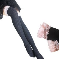 AM Landen®Gothic Lolita Cosplay Over-Knee/Thigh-High Cotton Socks(Black/Pink Lace)