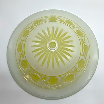 Vintage Yellow White Farmhouse Modern Floral Glass Ceiling Light Shade Bowl