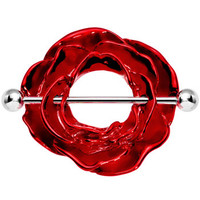 Blossoming Red Rose Nipple Shield | Body Candy Body Jewelry