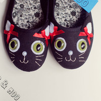 Kawaii cat shoes / Cute kitty mary janes / Fun green eyed kittycat black canvas ladies flats / Unique footwear UK Size 7 (EUR  40, US 9)