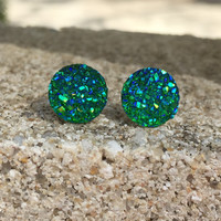 Earrings Green Blue Druzy Stud Earrings Boho Jewelry Green Blue Earrings 10MM