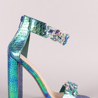 Holographic Snake Jeweled Clear Open Toe Chunky Heel