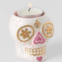 Gold and Pink Sugar Skull Tealight Candle Holder
