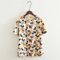 Disney Mickey Minnie Mouse Floral Everyday Wear Casual Party Wear Holiday Plain Short Sleeve Top blouse T-shirt b2368