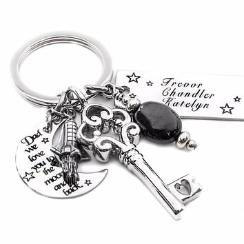 Personalized Engraved Children's Names Key Chain