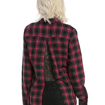 Red & Black Plaid Lace Girls Woven Button-Up