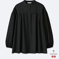 WOMEN SOFT COTTON GATHERED 3/4 SLEEVE BLOUSE