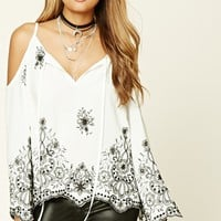 Open-Shoulder Floral Print Top