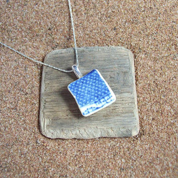 Ocean tumbled pottery & sterling silver necklace