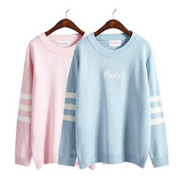 2016 winter women sweaters new korean harajuku style cute embroidery striped long-sleeved kawaii rock letter sweaters