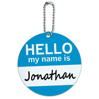Jonathan Hello My Name Is Round ID Card Luggage Tag