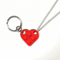 BFF Heart Keychain and Necklace Set - Made of LEGO Bricks - Friendship Set - Curb Chain Option