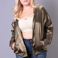 Plus Size Satin Bomber Jacket - Olive