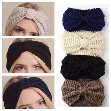 Thick Knit Bow Center Adorable HeadBand HeadWraps