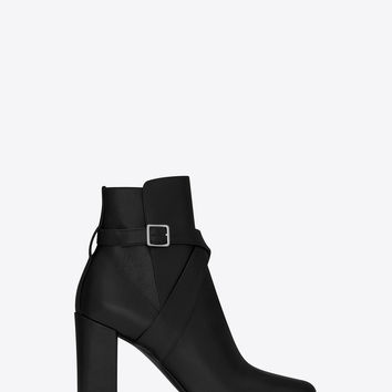 SAINT LAURENT BABIES 90 CROSS STRAP ANKLE BOOT IN BLACK LEATHER | YSL.COM