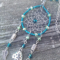 Mushroom Dreamcatcher Necklace, Dream Catcher Pendant, Boho Leaf Pendant, Aqua Blue Dreamcatcher,Mushroom Pendant,