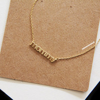 Gold Plated Mommy Charm Necklace, e, Tiny Charm Necklace, GoldPlated Charm Necklace, GoldPlated Necklace, Hipster, Instagram, Holiday Gifts