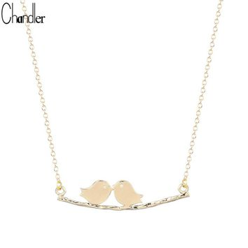 Silver Plated Cute Loving Birds on a Branch Pendant Necklace For Women Lover Couple Gifts Handmade Clavicle Chain Jewelry