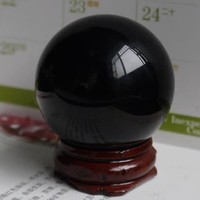 Natural Black Obsidian Sphere Large Crystal Ball Healing Stone 40M with Stand