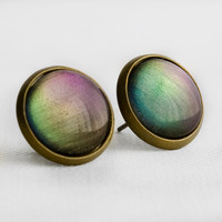 Aurora Borealis Post Earrings in Antique Bronze - Purple, Green, Blue Color Shifting Stud Earrings