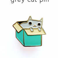 Grey Cat in a Box Enamel Pin / Lapel Pin by Susie Ghahremani / boygirlparty