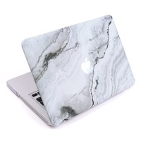 Cosmos ® Rubberized Plastic Hard Shell Cover Case for Macbook Pro 13.3'' (Model: A1278), White Marble Pattern