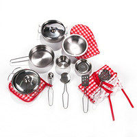 Toyerbee Pretend Play Toys - Kitchen Toys 16 Pcs Stainless Cookware Set for Young Chef Toy Pans and Pots with Cooking Utensils for Kids