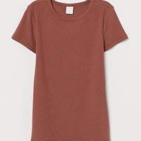 Ribbed Cotton T-shirt - Brown - Ladies | H&M US