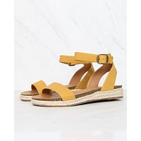 Single Band Platform Espadrille Sandals With Ankle Straps in Mustard